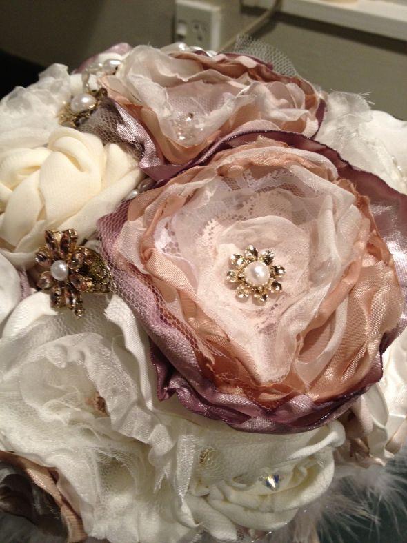 My handmade fabric flower bouquet :  wedding bouquet diy fabric flower flowers Photo 2a