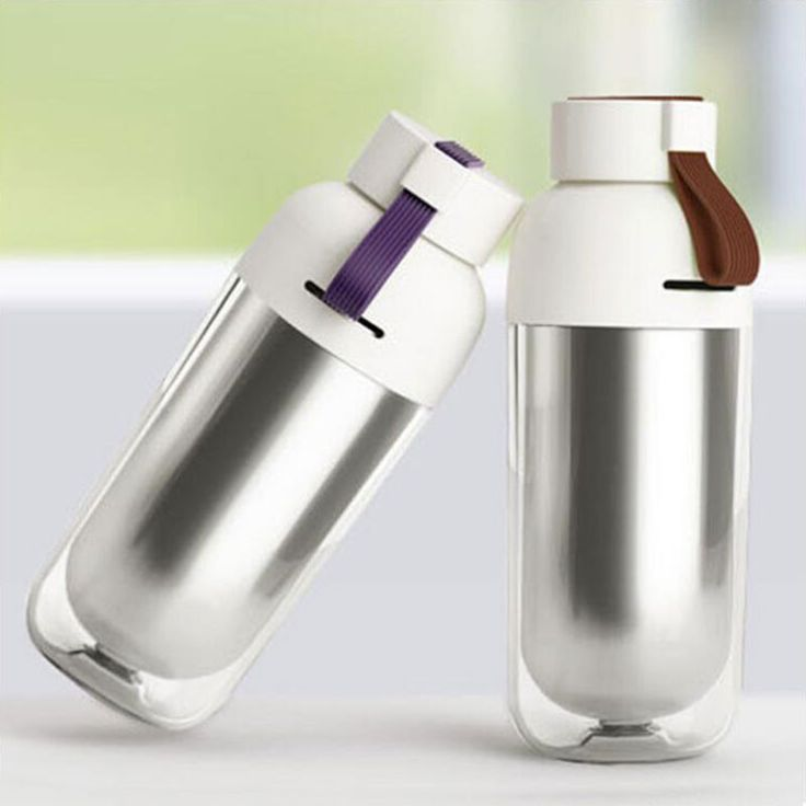 New Stylish Design - Double Wall Stainless Steel Water Bottle with Strap