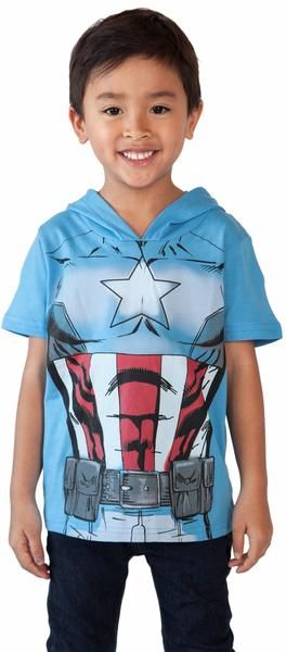 Toddler Marvel Captain America Costume T-shirt with Hood! Makes a great, easy Halloween costume for your little one
