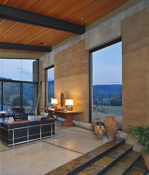 Example of rammed earth home in Wyoming