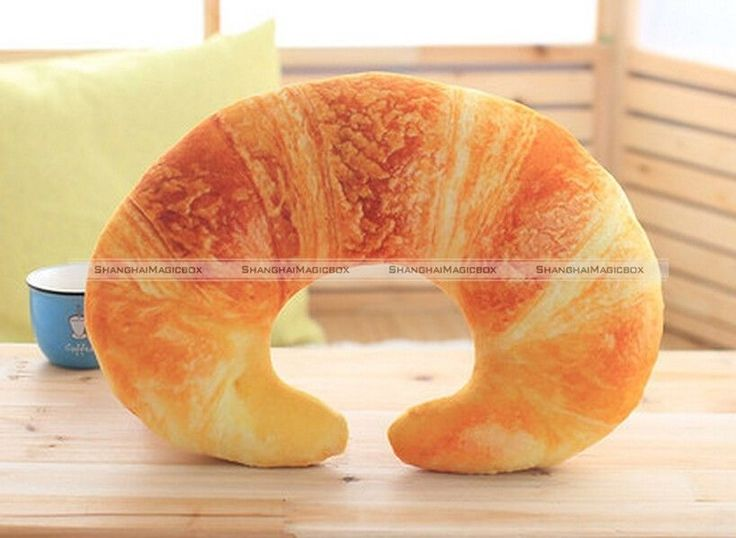 Cute Creative 3D Croissants Bread U-shaped Neck Pillow Lunch Break Travel SMB 40316912