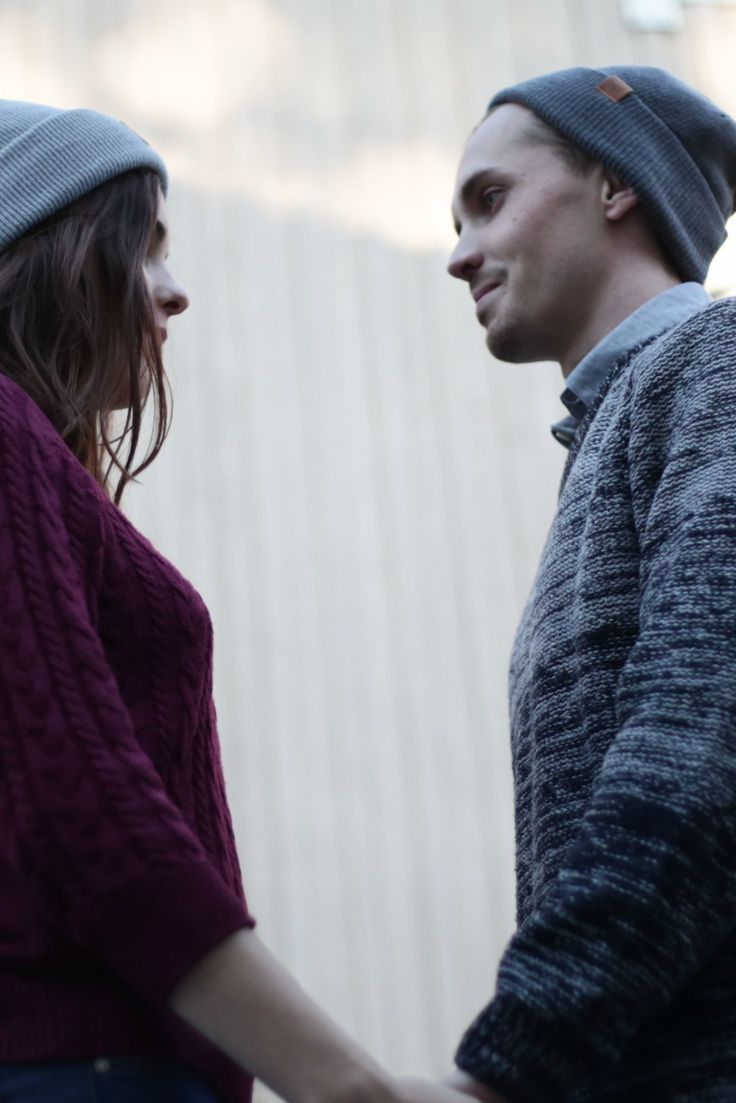 Couples style. Cozy fall look with beanies. Fall Outfit for men and Women.