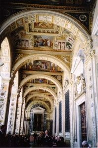 This is rarely seen-- the grand hallway leading to the Apostolic Palace, residence of Pope Benedict XVI.