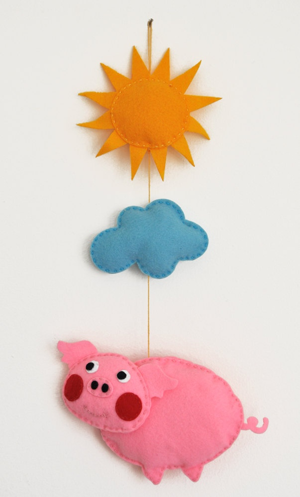Iko plush pig baby mobile baby crib mobile nursery pig for Unusual baby mobiles