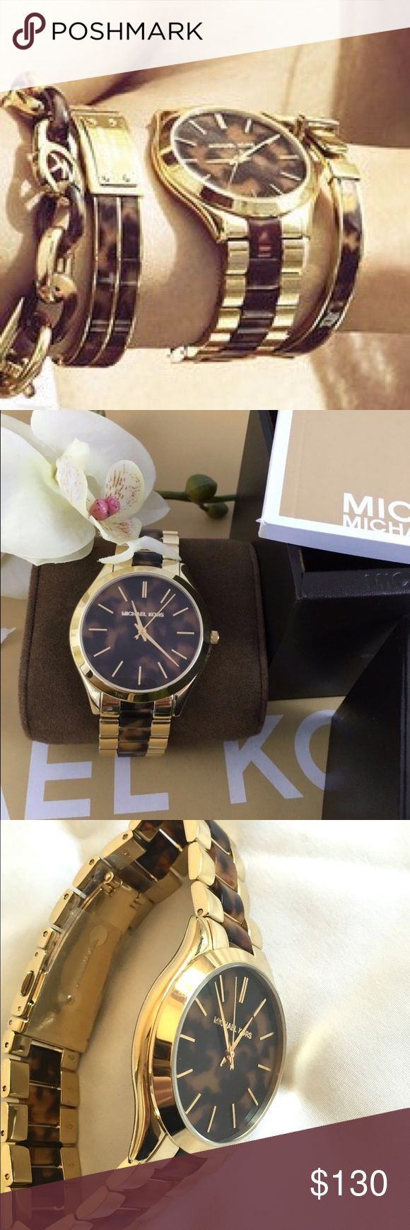 Michael Kors Slim Runway Tortoise & Gold Watch Michael Kors Slim Runway Tortoise & Gold-Tone Women's Watch MK4284. Brand New without tags. Comes in box, all protective films still on! Perfect! Additional Information: MovementQuartz Case TypeStainless Steel Case ColorGold Analog/DigitalAnalog Strap ColorTwo Tone Strap TypeStainless Steel Dial ColourBrown Case Size42.0 mm Water Resistance50m (165ft) Michael Kors Accessories Watches