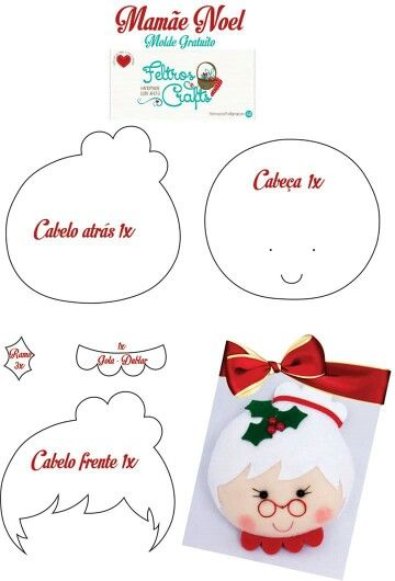 DIY: Mrs Claus felt ornament. Free pattern.