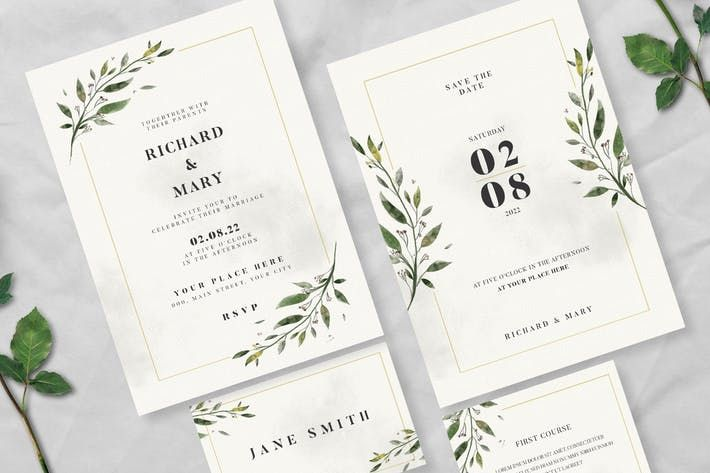 Watercolor Leaf Wedding Invitation Suite By Guuver On Envato