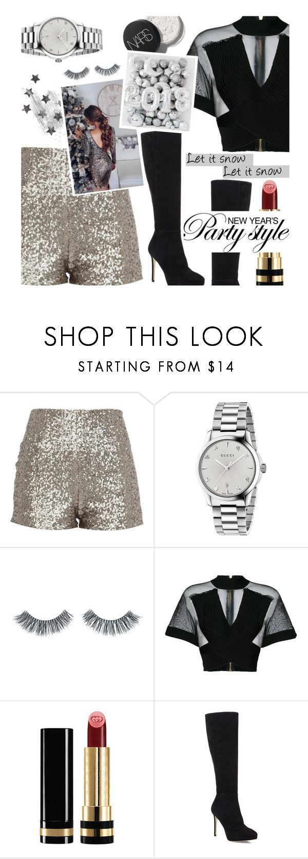 """♡ 31/12/2017 - New Year's Eve (RTD)"" by perfectharry ❤ liked on Polyvore featuring Gucci, Napoleon Perdis, Balmain and Jimmy Choo"