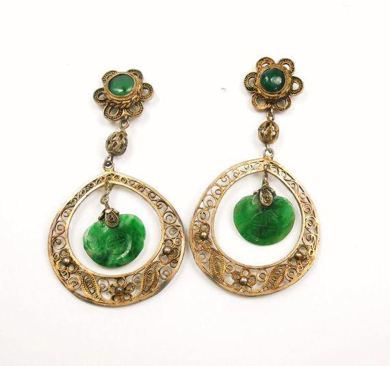 Vintage Green Jade Gold Wash Filigree Hoop by Topcatvintage