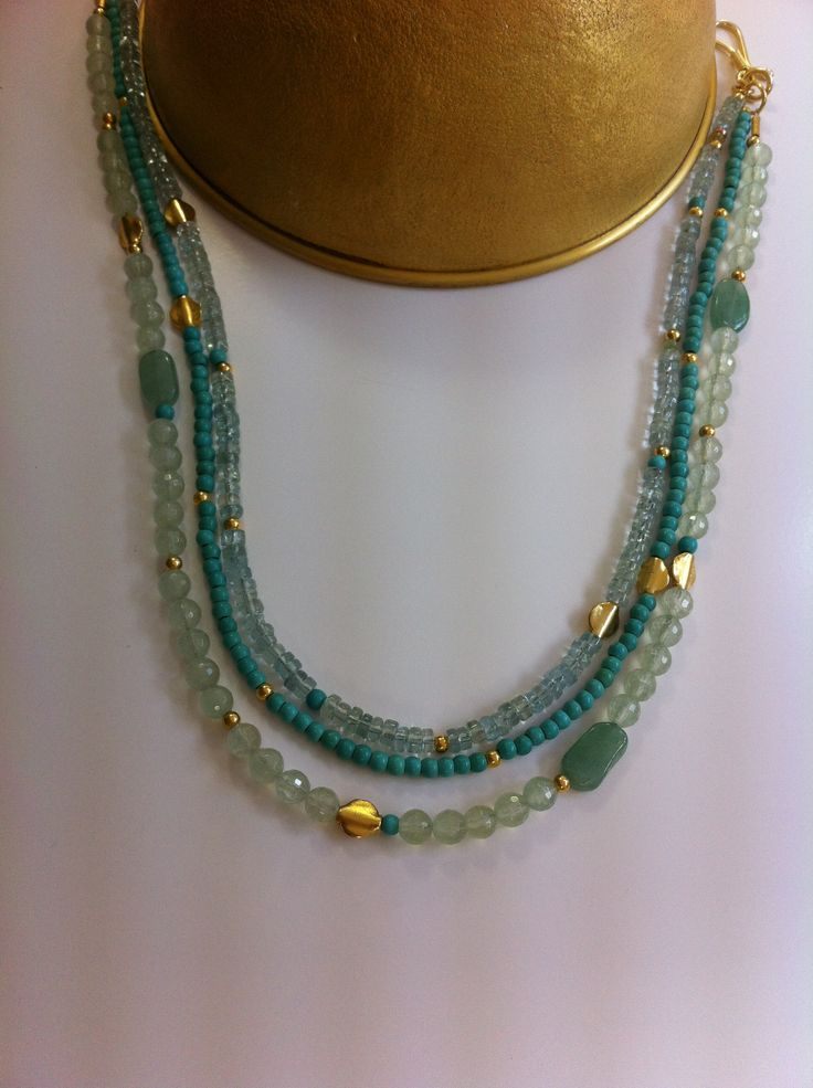 Aquamarine&Turquoise triple Necklace with silver&gold plated pieces
