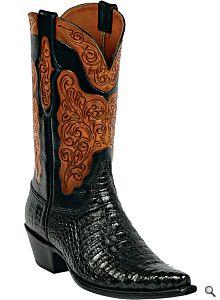 Black Jack Boots Mens Black Caiman Belly Custom Boots HT-91