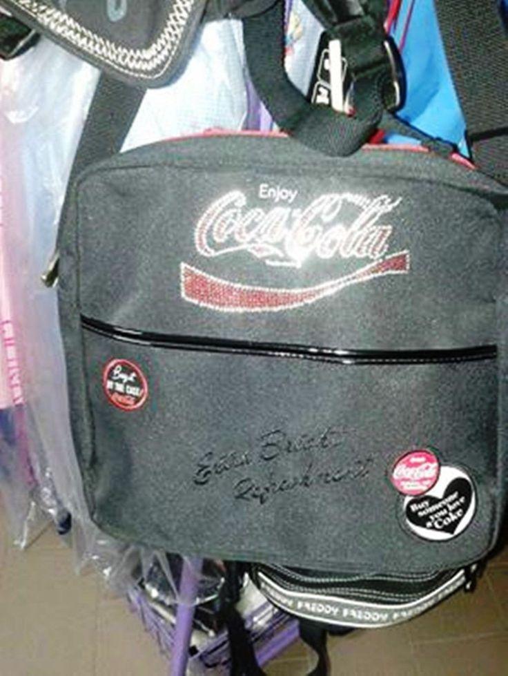 COCA COLA tracolla uomo nera in tessuto | eBay