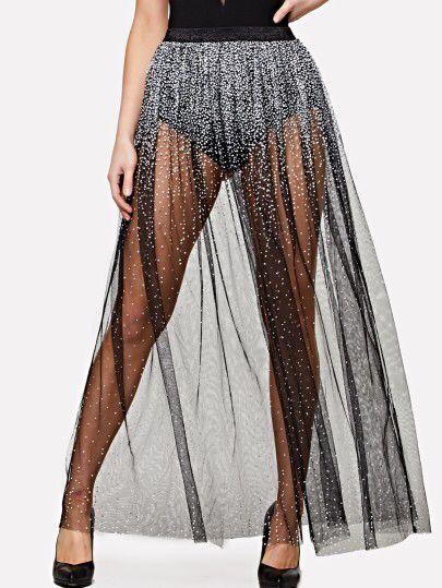 e763cd2b0c Elastic Waist Sequin Mesh Maxi Skirt Only US$19.00 | Music babe in ...