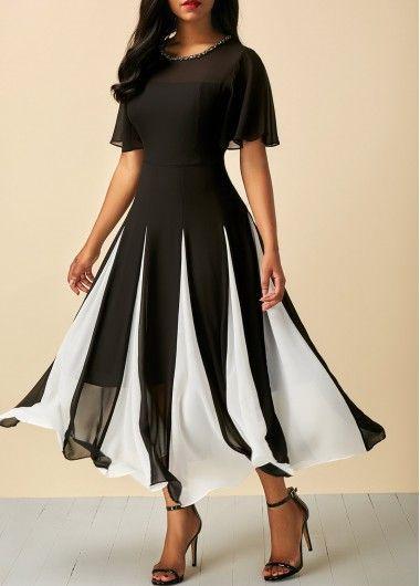 Short Sleeve Round Neck Patchwork Dress on sale only US$33.53 now, buy cheap Short Sleeve Round Neck Patchwork Dress at Rosewe.com