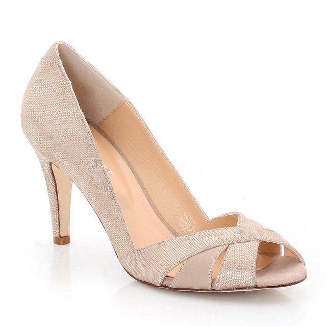 Zapatos de tacón con puntera abierta de piel