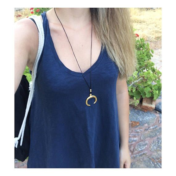 gold horn necklace greek jewelry moon necklace crescent