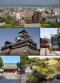 Sites of Kumamoto City, Japan:  From top left:Central Kumamoto view from Kumamoto Castle, Kumamoto Castle, Kumamoto City Tramway, Fujisaki hachimangu shrine, Suizenji jojuen