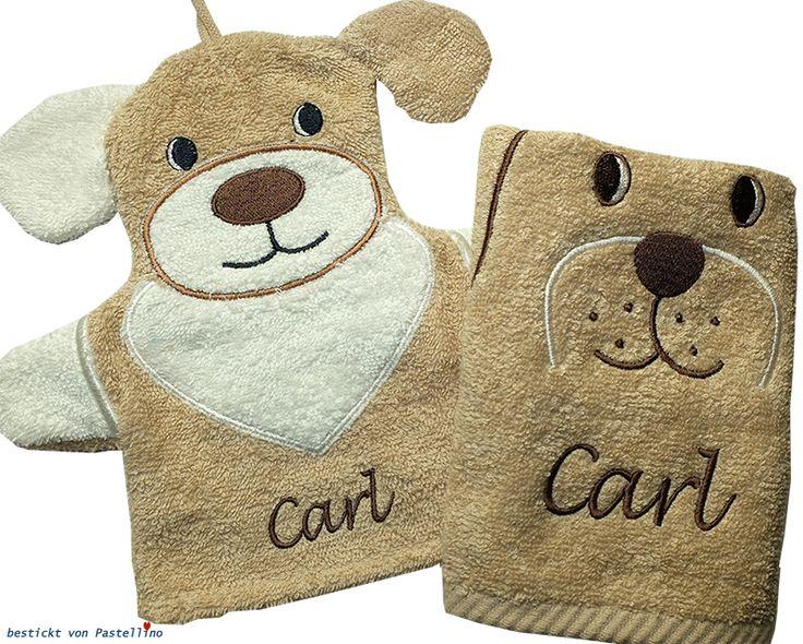 Waschhandschuh und Handtuch mit Hund Hanno von Sterntaler mit Namen bestickt von Pastellino. Individuelle Geschenke zur Geburt und Taufe.