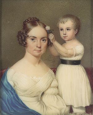 Mrs. William Beekman Ver Planck and Her Son William Beekman Ver Planck, ca. 1825–30  Attributed to Anne Hall (American, 1792–1863)  Watercolor on ivory      @Sarah Lythgoe