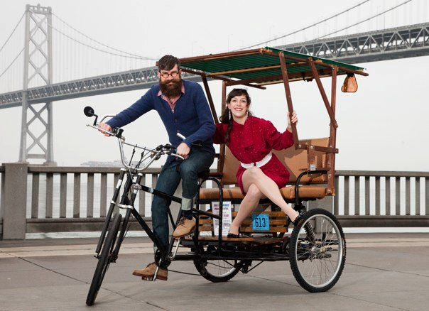 """Ann Mony & Adam Boehmer Photos by Gregory Bartning of www.belleimages.net/  """"This was very serendipitous. The gentleman just happened to be riding by during the shoot. We tipped him to use the cart for a few photos."""" - Adam"""