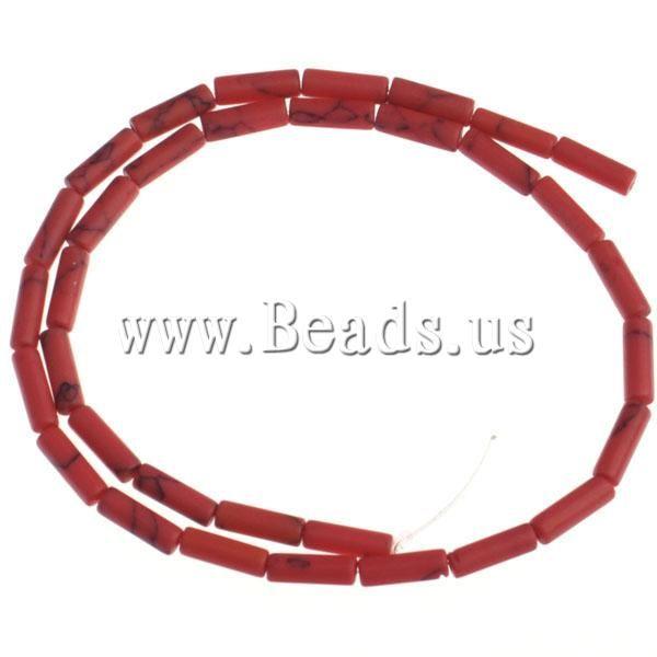 Около 33 Шт./Strand Ювелирные Изделия Оптом Синтетический Бирюзовый Трубки красный 12x4 мм Отверстие: Приблизительно 1.5 мм Бирюзовые Бусы