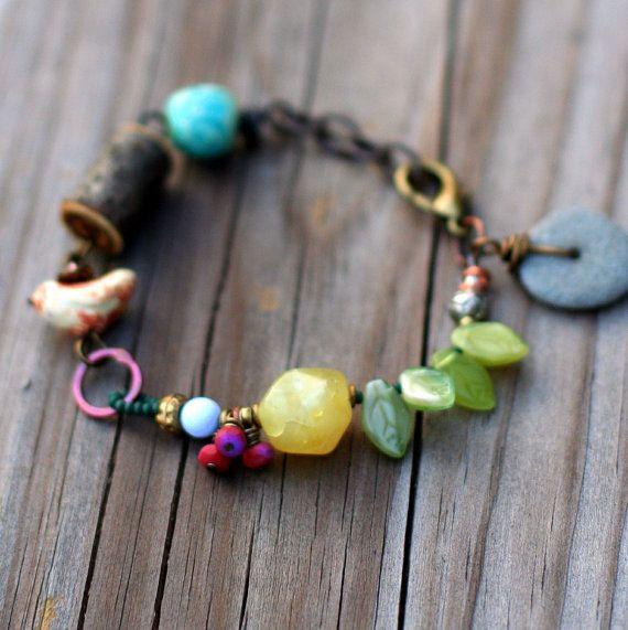 Boho Bracelet, Earthy Jewelry, Beach Stone Jewelry, Nature Jewelry, Beaded Bracelet