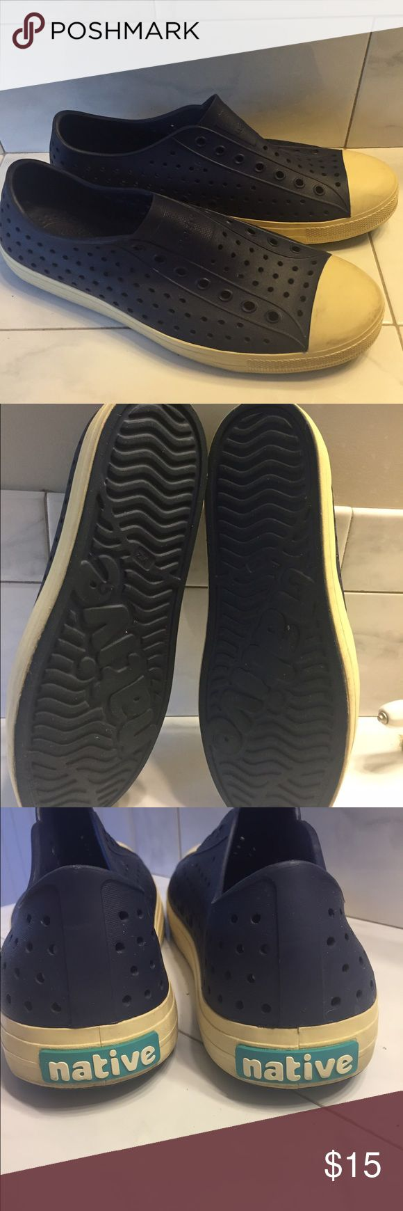Native Brand navy blue men's 12 shoes Men's Native Brand waterproof slip on and go sneakers sz 12 great condition Native  Shoes Loafers & Slip-Ons