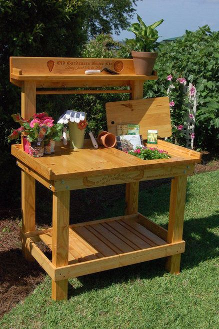 52 best images about garden work bench on pinterest for Garden potting bench designs