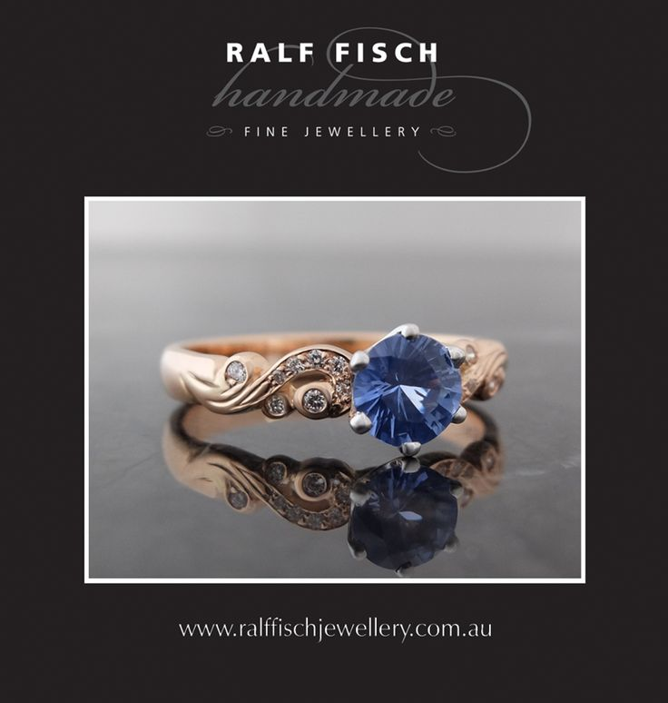 18ct rose gold scrolled dress ring with white diamonds and a brightly cut pastel blue Ceylon type sapphire. The photos just don't do this sapphire justice. It has a wonderful softness to it's colour, complimented by the warm tones from the rose gold.