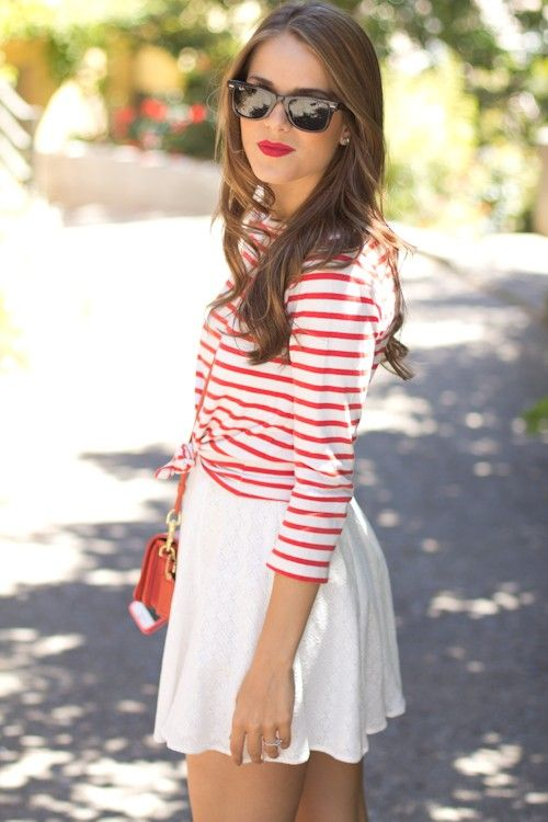stripes stripes stripes!: Red Lipsticks, Red And White, Summer Looks, Red Stripes, Street Style, Summer Outfits, 4Th Of July, Outfits Ideas, White Skirts