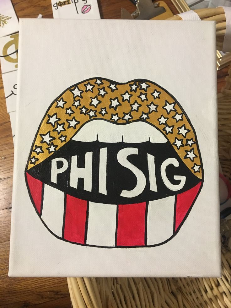 Phi Sigma Sigma Sorority Craft Big Little Canvas America Lips