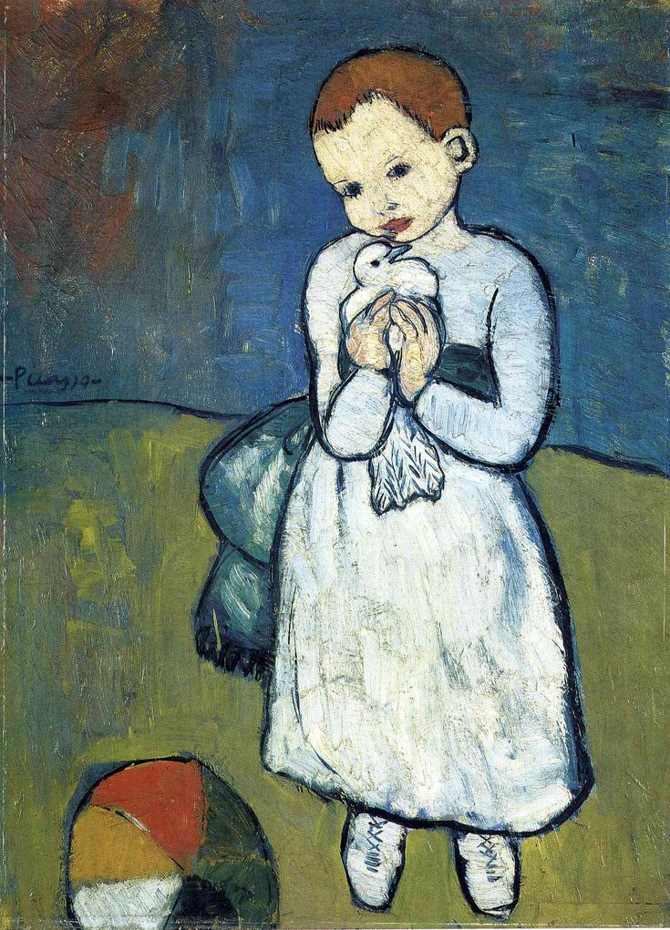 Child with dove     Artist: Pablo Picasso  Completion Date: 1901  Style: Expressionism  Period: Blue Period  Genre: genre painting  Technique: oil  Material: canvas  Dimensions: 73 x 54 cm  Gallery: National Gallery, London, UK