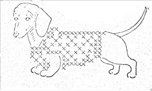 vintage wiener dog embroidery pattern