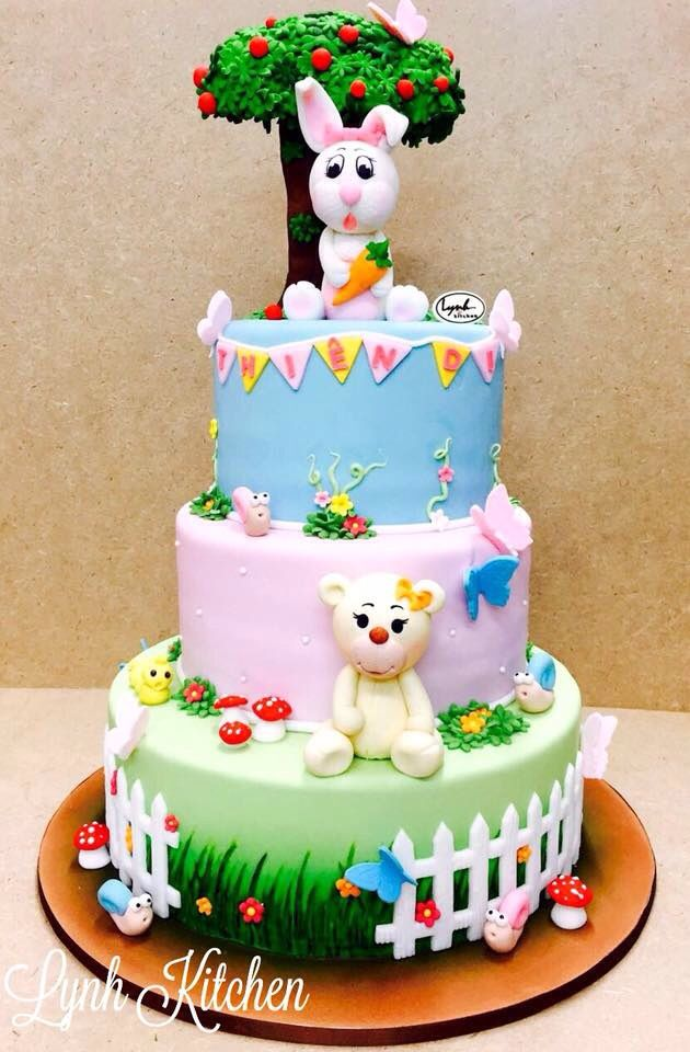 Bunny Rabbit Teddy fondant cake girls butterly