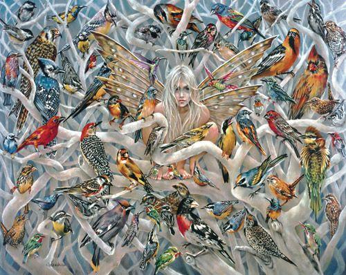 Fairy, birds, art.