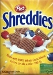 Shreddies is an iconic Canadian treasure made with 100% whole grain wheat, right here in Ontario, Canada. A healthy diet low in saturated and trans fats may reduce the risk of heart disease. Post Shreddies cereal is low in saturated and trans fats.