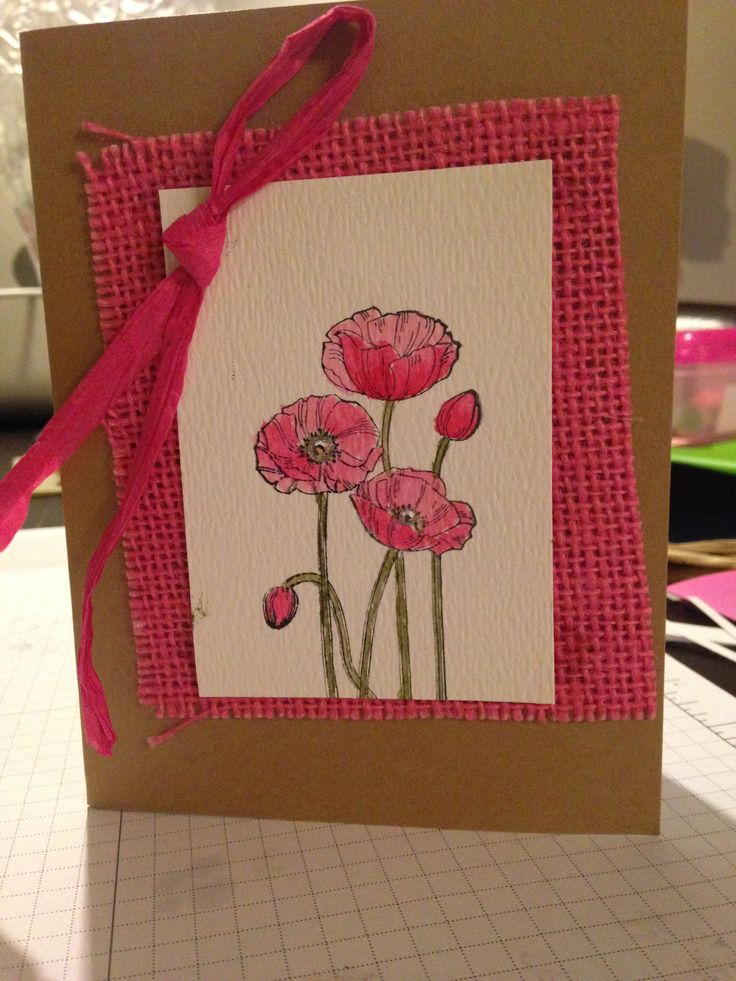 Pleasant Poppies Stampin' Up! Water colour technique with coloured raffia and burlap