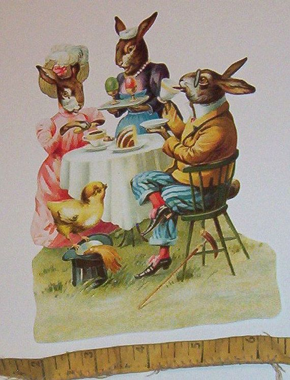 New German Large diecut scrap Easter Bunny Rabbits tea party cake eggs cute scrapbooking card making paper art craft EF 5113