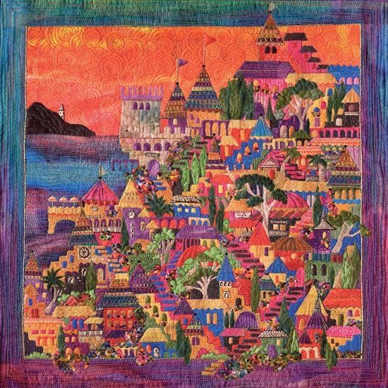 Beautiful, colorful scenery in this quilt, from the International Quilt Association. Included in the Award-Winning Quilts 2013 Calendar. by kelly.meli