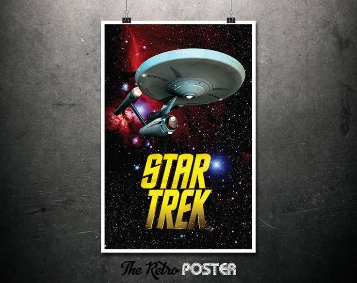Star Trek Enterprise - Original Star Trek, Starship Enterprise, Star Trek Print, Kids Gift, Boys Bedroom, Man Cave, Space Poster by TheRetroPoster on Etsy