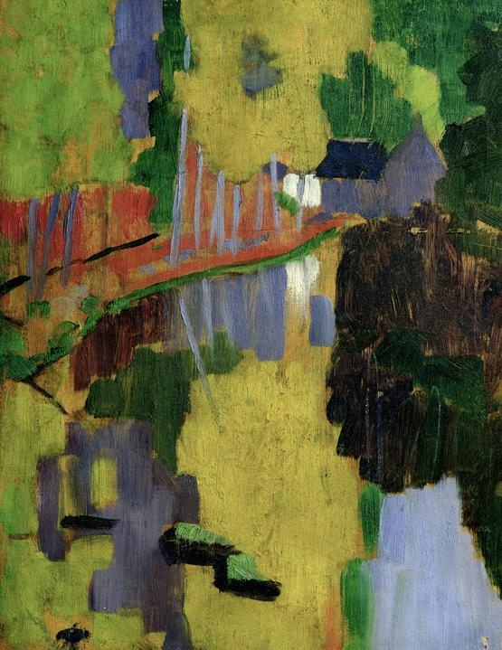 """Paul Serusier, 'The Talisman' (1888). A row of trees traverse along a path towards a small hut, all reflected in a large body of water. This radical abstraction inspired a generation of artists who called themselves the Nabis (prophets); this was their talisman. Sérusier painted the work immediately after receiving this famous piece of advice from Gauguin, """"How do you see these trees? They are yellow. So, put in yellow; this shadow, rather blue, paint it with pure ultramarine; these red lea"""
