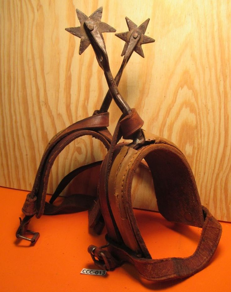 "Unusual ANTIQUE 9 3/4"" Long Mens Riding Spurs with leather Very Sharp MAKE OFFER"