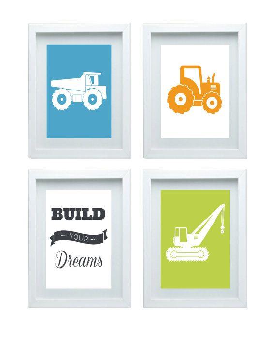 Nursery art construction dump trucks geen blue gray for 10x10 kids room