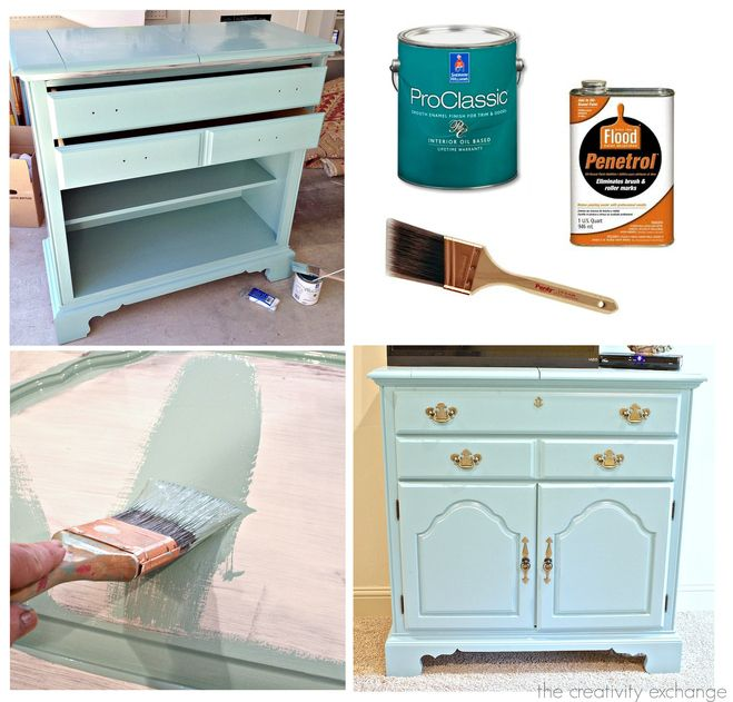 Tips for what type of furniture pieces to paint with enamel and tips for getting a beautiful finish. The Creativity Exchange
