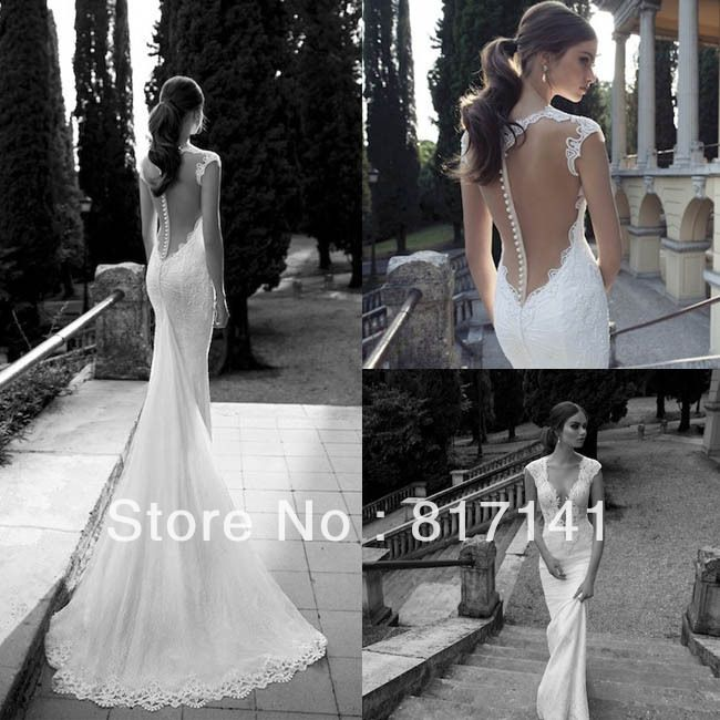 vestido de noiva 2014 sexy backless wedding dresses see through wedding dresses lace mermaid wedding dress