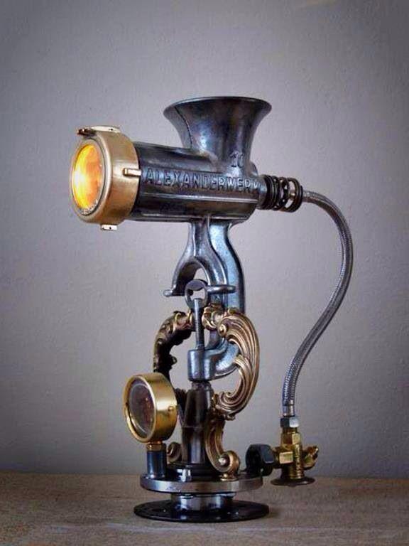 Lamp, steampunk? Old meat grinder.