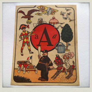 ABC vintage stampare nell'illustrazione francese-1940-vintage bambini, scrapbooking, imparare il francese, ephemera cercapersone, pagine, libro in francese