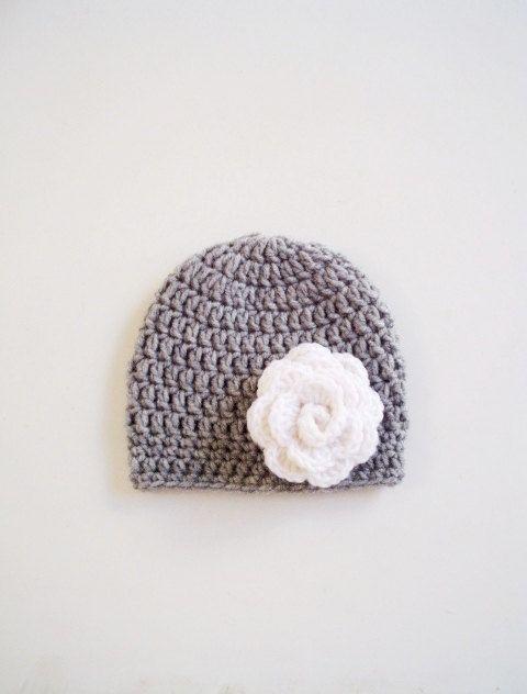 Crochet newborn hat baby girl beanie Pregnancy reveal announcement children crochet gray white flower shower gift hospital gift handmade