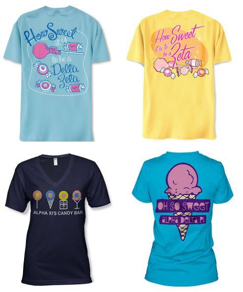 CANDY theme bid day shirts from METRO GREEK! :)