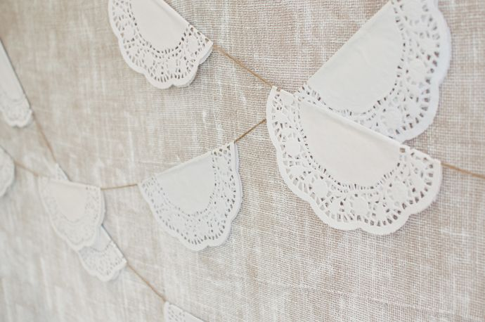 Paper Doily garland DIY by All The Frills